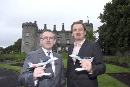 Kilkenny Arts Festival and Waterford Airport are pleased to announce the arrival of their new partnership, announcing Waterford Airport as the festival's official Airport partner.  Pictured here are, Graham Doyle, CEO, Waterford Airport and Damian Downes, CEO, Kilkenny Arts Festival.