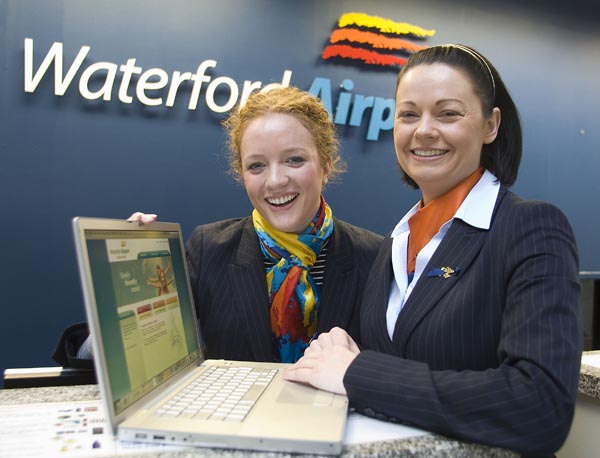 'New Waterford   Airport website takes flight' pictured at the launch of the Waterford Airport website are staff members Joanne Mahony and Anne Wall. Photo Patrick Browne.